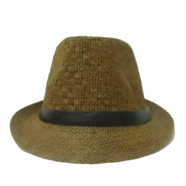 Unisex Thin Straw Hat with Ribbon with Rhombuses