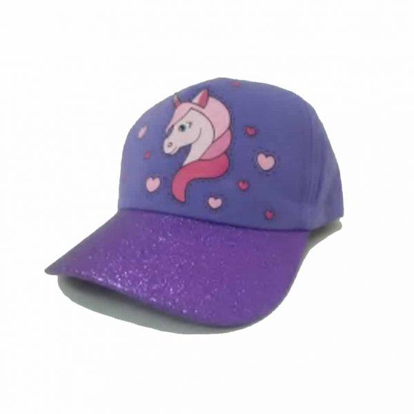 Unicorn Girl's Cap with Sparkling Visor