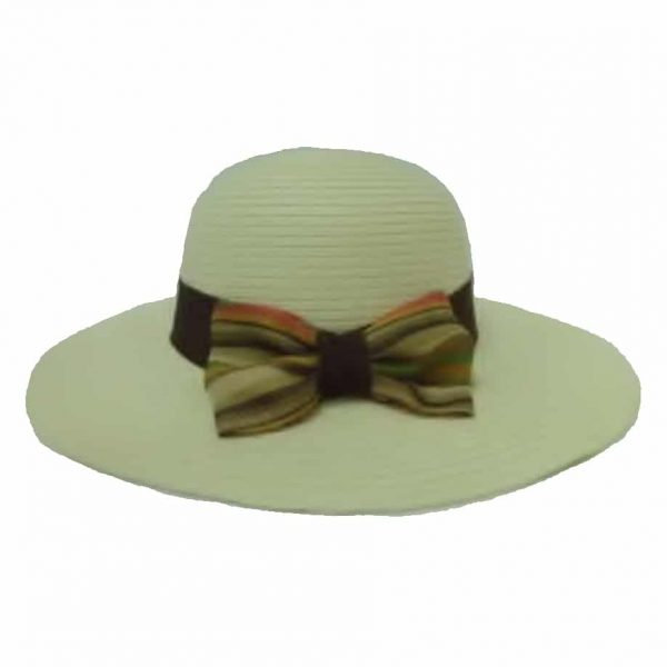 Lady's Capline with Flat Ribbon and Striped Bow