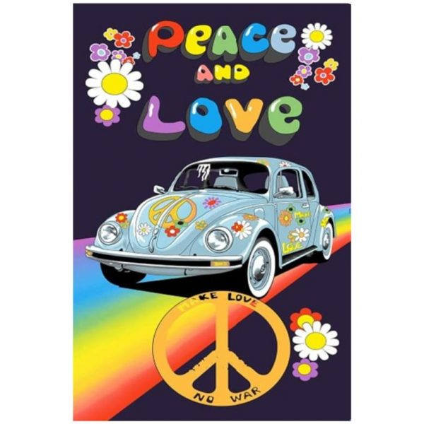 Toalha de Praia Microfibra Peace and Love 180 x 100 cm
