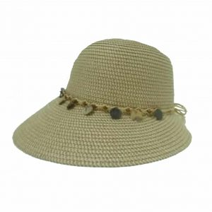 Lady Hat With Tinted Straw and String with Decorative Elements