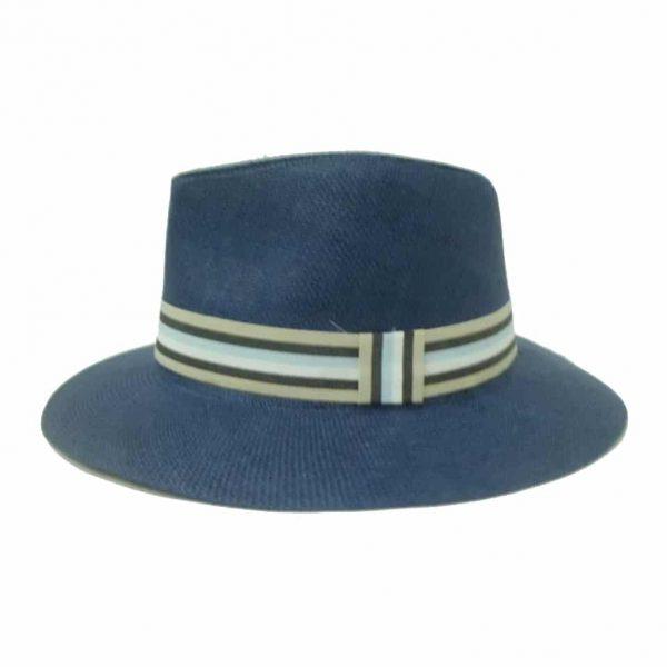 Chapéu de Homem de Aba Direita com Fita às Riscas