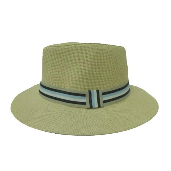 Man Hat Flat Brim with Striped Ribbon