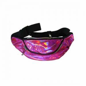 Bolsa de Cintura Lisa Holográfica Rosa