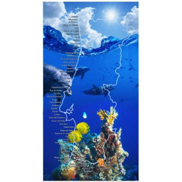 Dolphins With Map of Portugal Microfiber Beach Towel 180 x 100 cm