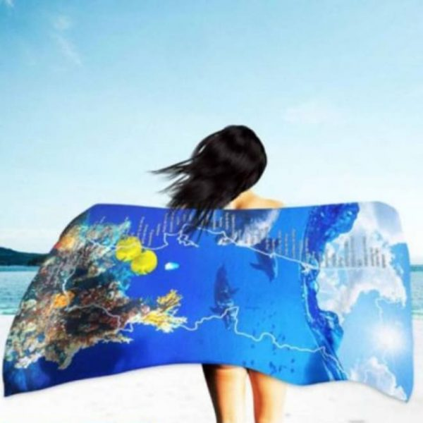 Toalha de Praia Microfibra Mapa de Portugal Golfinhos 180 x 100 cm