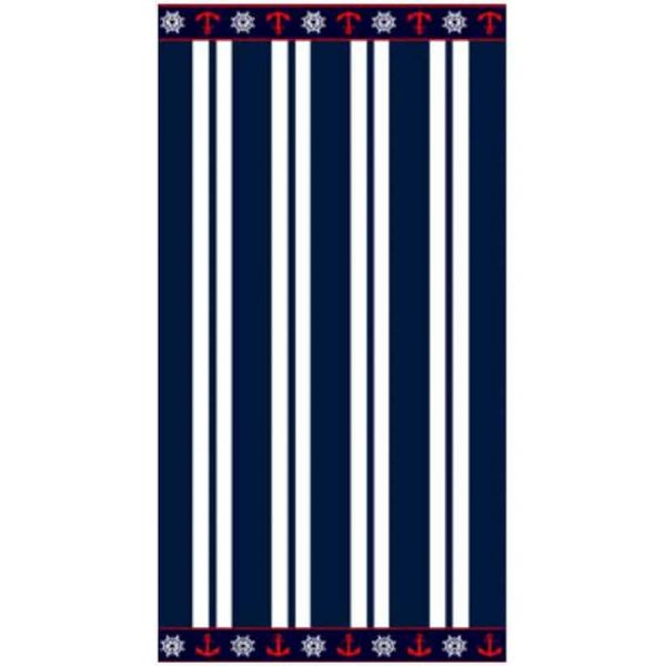 Blue and White Striped with Anchors Microfiber Beach Towel 180 x 100 cm