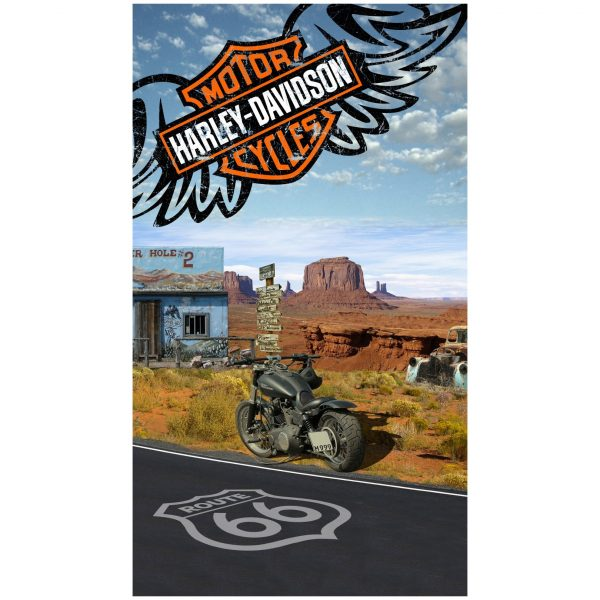 Toalha de Praia Microfibra Mota Harley Davidson na Route 66 180 x 100 cm