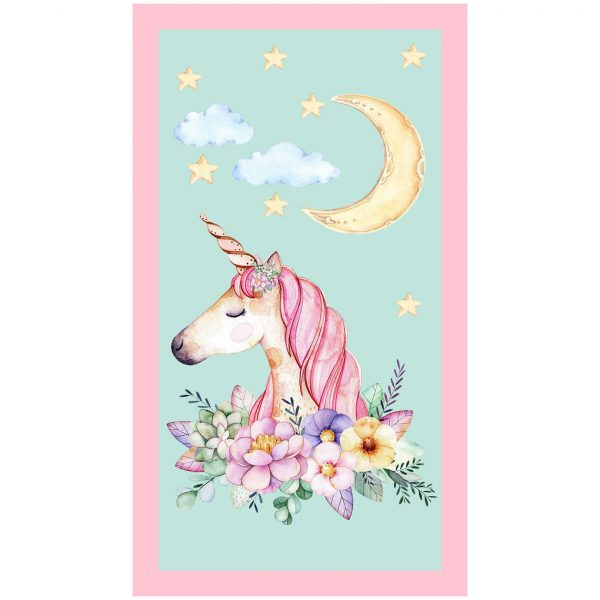 Blue Unicorn with Flowers at Moonlight Microfiber Beach Towel