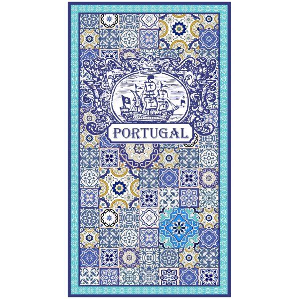 Portuguese Caravel Tile Microfiber Beach Towel Blue Border