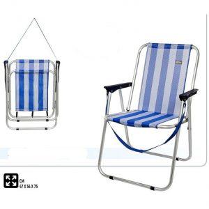 Cadeira de Praia Tradicional de Alumínio