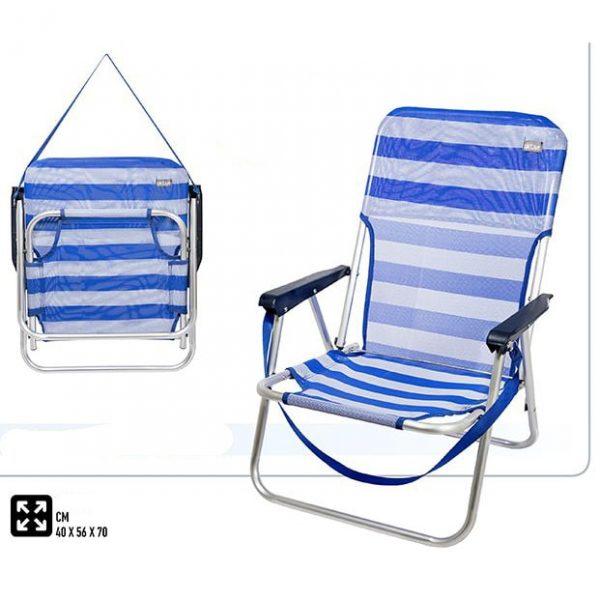 Cadeira de Praia Baixa de Alumínio com Alça