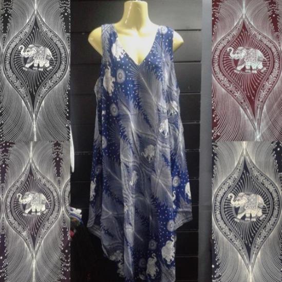 Vestido Babula Elefantes e Penas