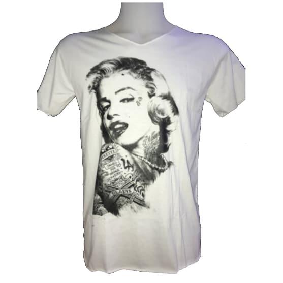 T-Shirt Branca Marilyn Monroe Tatuada