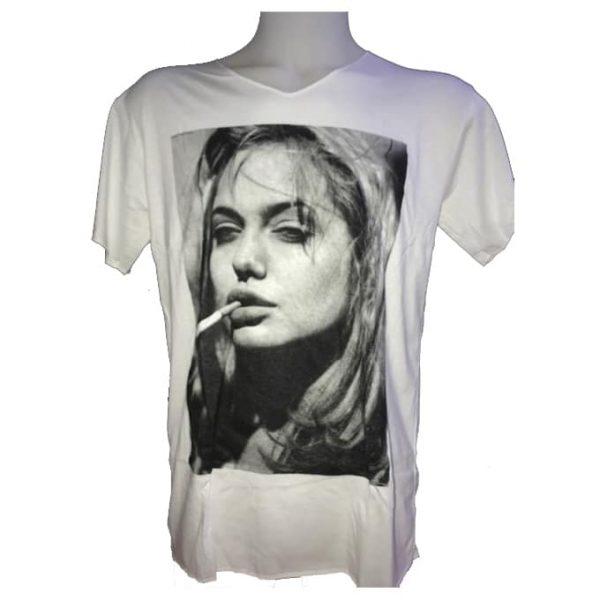 T-Shirt Branca Angelina Jolie