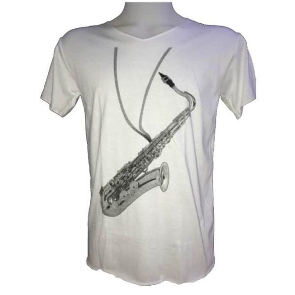 T-Shirt Branca Saxofone