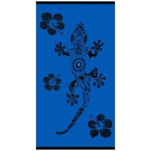 Toalha de Praia de Algodão Salamandra e Flores Azul