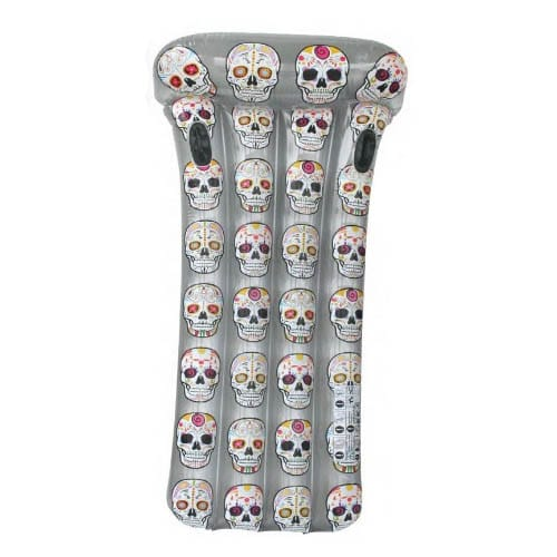 Mexican Skulls Inflatable Silver Mattress with Handles Aremar