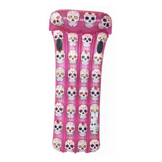 Mexican Skulls Inflatable Pink Mattress with Handles Aremar
