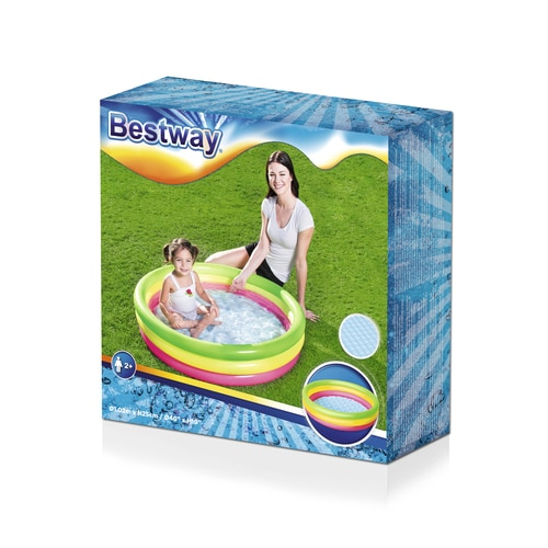 Bestway Inflatable Swimming Pool with 3 Colored Rings 102 cm