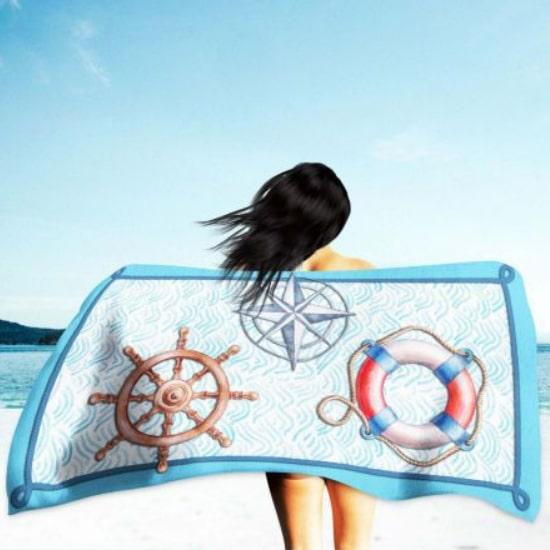 Toalha de Praia Microfibra Marítima 180 x 100 cm
