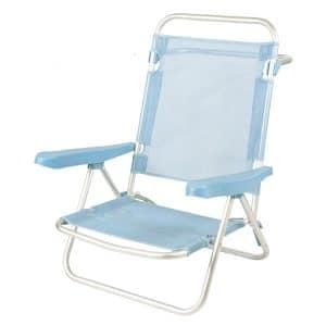 Cadeira de Praia de Alumínio Reclinável até Deitar Aremar Azul Clara