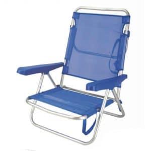 Cadeira de Praia de Alumínio Reclinável até Deitar Aremar Azul Escura