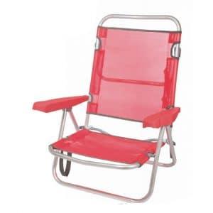 Cadeira de Praia de Alumínio Reclinável até Deitar Aremar Vermelha