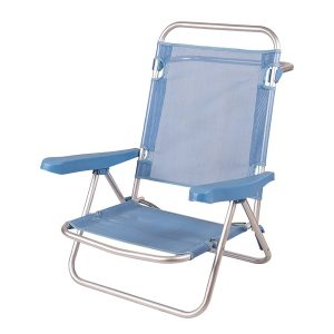 Cadeira de Praia de Alumínio Reclinável até Deitar - Azul