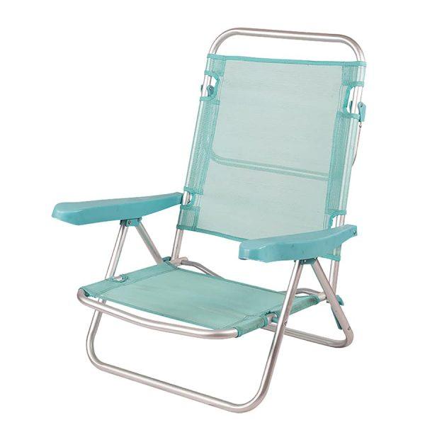 Cadeira de Praia de Alumínio Reclinável até Deitar - Cerúleo