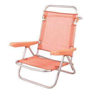 Cadeira de Praia de Alumínio Reclinável até Deitar - Laranja