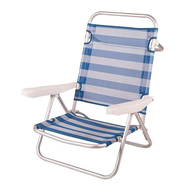Cadeira de Praia de Alumínio Reclinável até Deitar - Riscas Azul e Branco