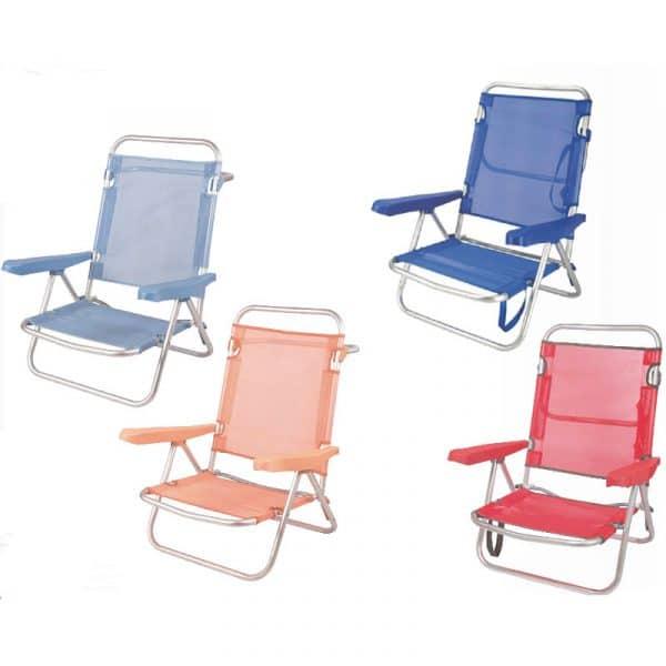 Cadeiras de Praia de Alumínio Reclinável até Deitar Aremar