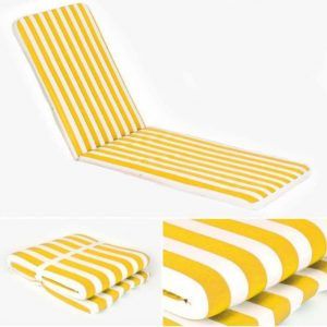 Yellow Striped Lounger Mattress. 180 x 50 cm.
