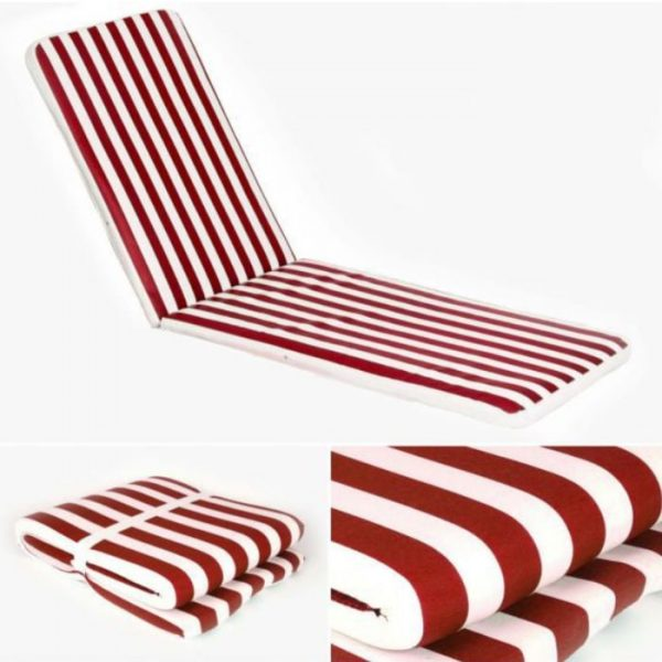 Red Striped Lounger Mattress. 180 x 50 cm.
