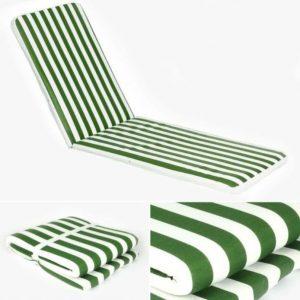 Colchão para espreguiçadeira de esponja às riscas. 180 x 50 cm. Verde.