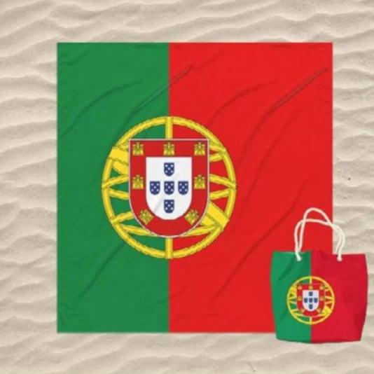 Tolha de Praia Dupla Bandeira de Portugal com Saco