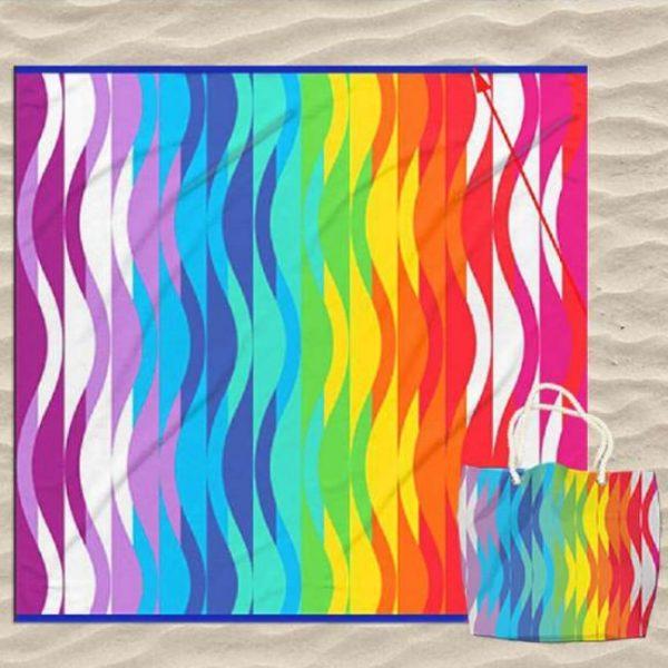 Toalha Dupla Riscas Coloridas com Saco