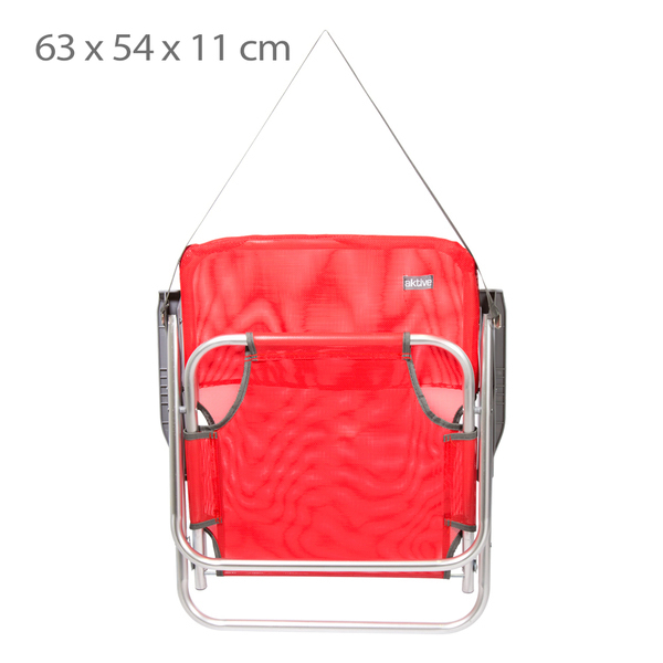 Cadeira de Praia Baixa de Alumínio Vermelha com Alça