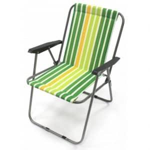 Cadeira de Cretone com Molas e Apoio de Braços