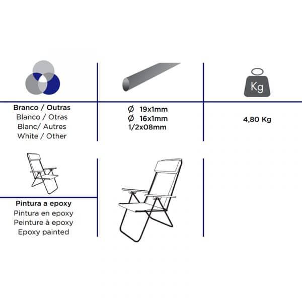 Cadeira de Cretone Alta Reclinável e com Apoio de Braços