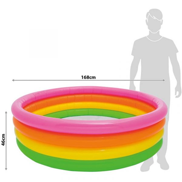 Piscina Insuflável 3 Anéis Coloridos Intex 168 cm