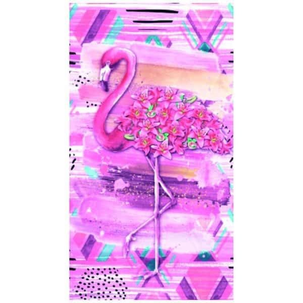Toalha Praia Microfibra Flamingo Flores