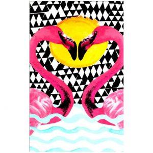 Toalha Praia Microfibra Flamingo Amor