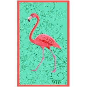 Toalha Praia Microfibra Flamingo Emoldurado Ciano