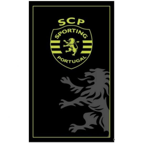 Toalha de Praia Microfibra Licenciada Sporting Clube de Portugal SCP Preta