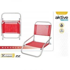 Cadeira de Praia de Alumínio Baixa Fixa Vermelha Aktive