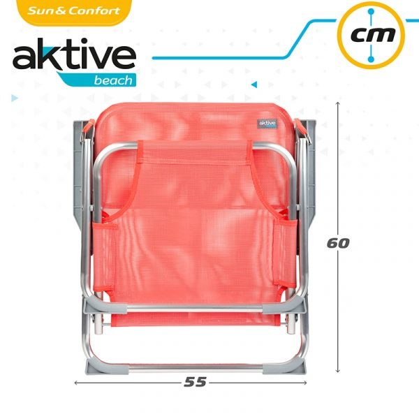 Cadeira de Praia Baixa de Alumínio Rosa com Alça