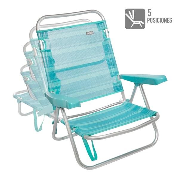 Cadeira de Praia de Alumínio Reclinável até Deitar Cerúleo às Riscas Aktive