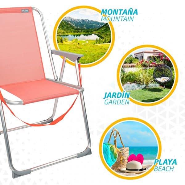 Cadeira de Praia Tradicional de Alumínio Rosa com Alça Aktive